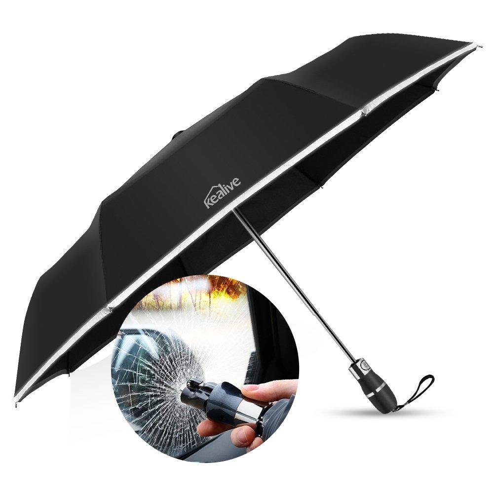 Paraguas Plegables, Paraguas automático, Kealive Emergencia ayuda de avería de la ventana para el coche con rayas reflectantes de advertencia, Negro