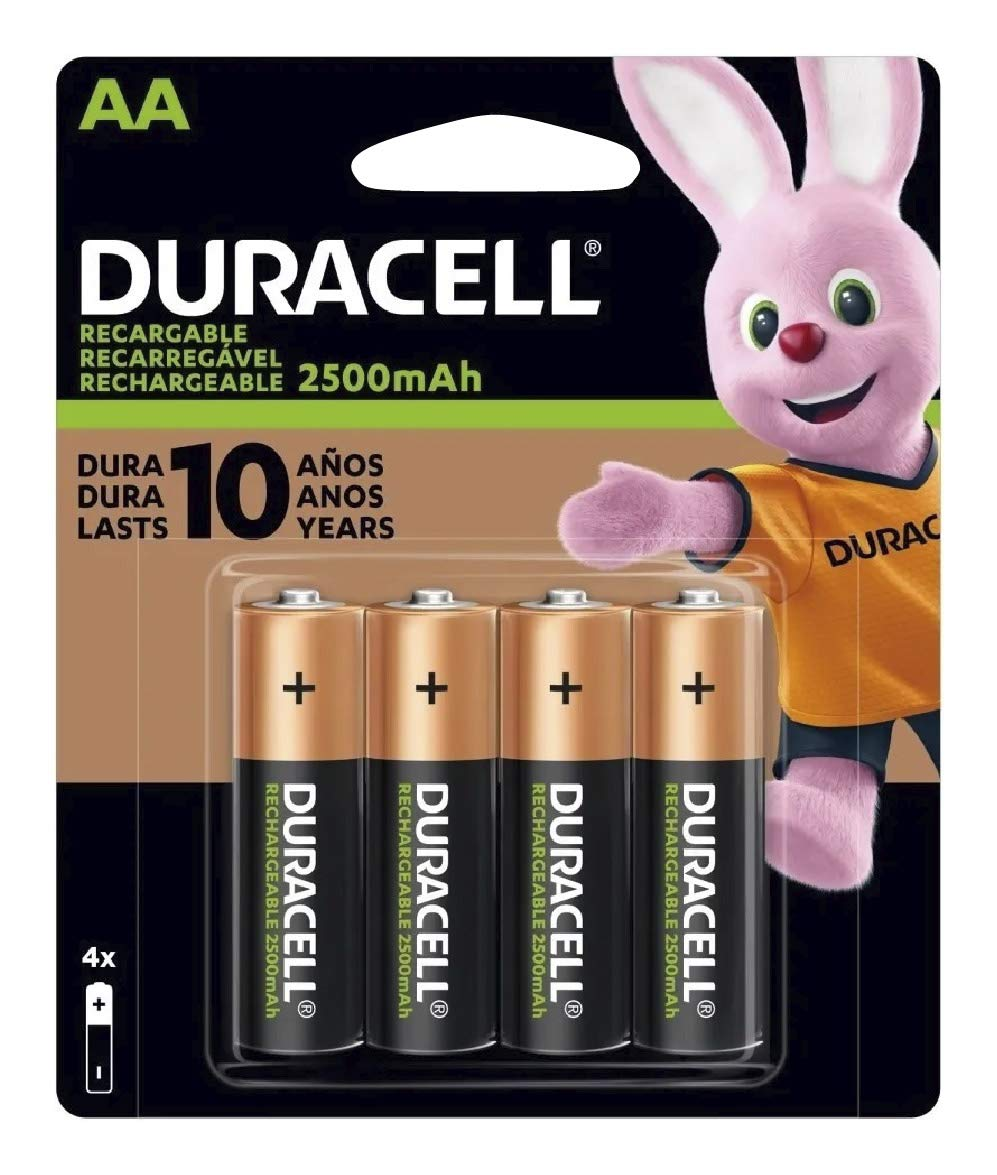 Duracell AA NiMH rechargeable blister pack, 4 per pkg. 2500mAh