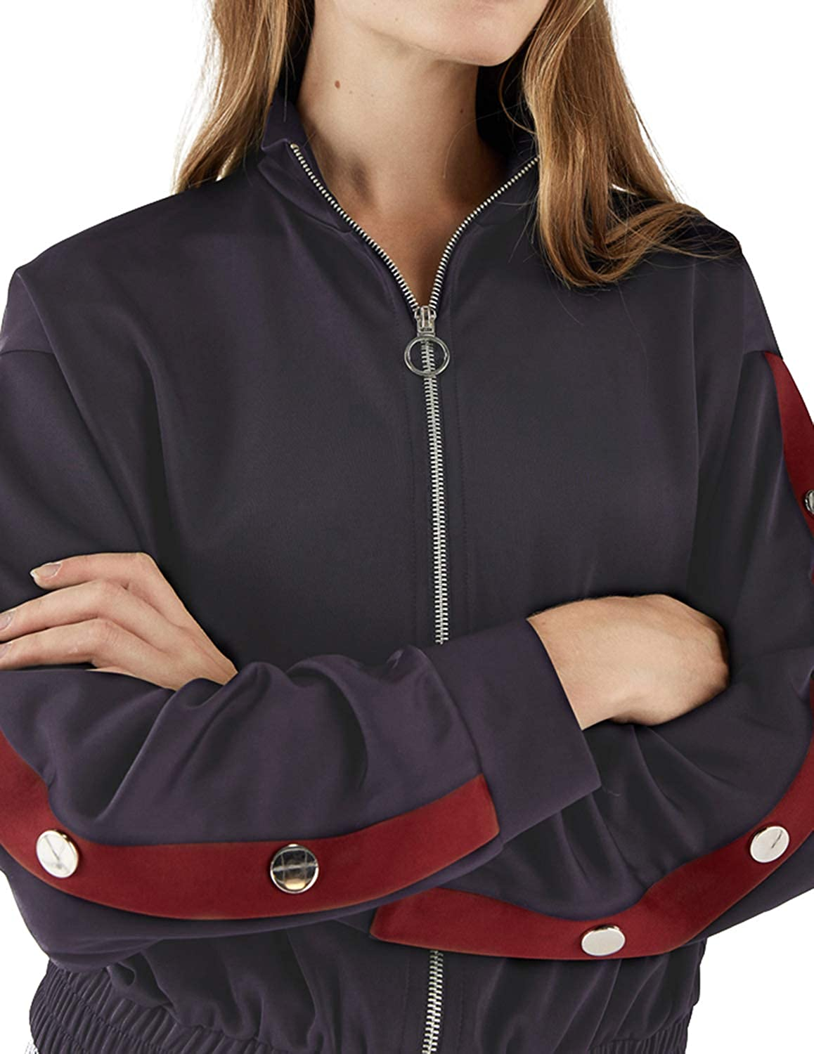 HaoDuoYi Womens Simple Casual Sports Half-high Collar Side Strips Snap-on Decorative Metal Zipper Jacket