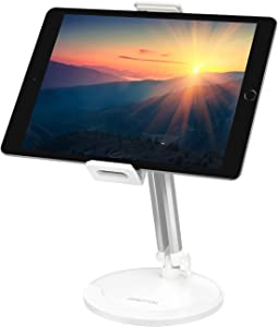 Tablet Stand Adjustable, OMOTON 360°Swivel iPad Stand, Aluminum Desktop Stand Holder Dock Compatible with iPad Air New iPad, Samsung Tabs(up to 5.8''-12.9''), Headset and Cell Phones ,White