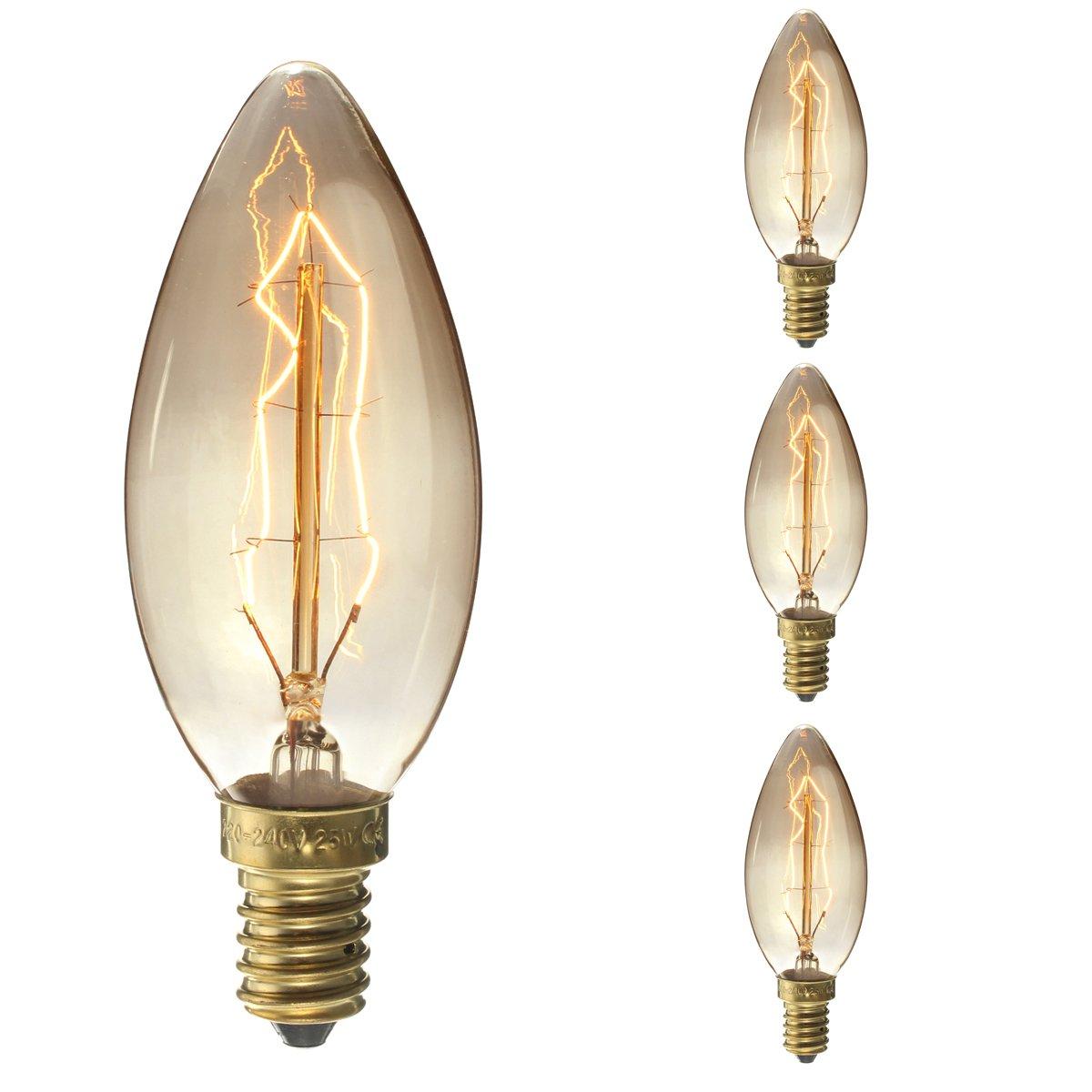 Lampadina a Candela, Elfeland Lampadina Vintage Retro Edison E14 Lampada Sospensione Filamento 25W Luce Bianco Caldo Illuminazione Luminosa 220V - 3 Pezzi