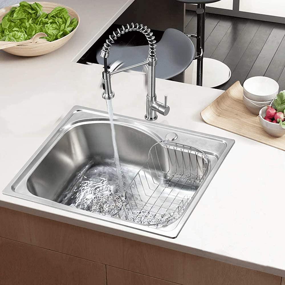 LJJTDS Muebles de Cocina Moderna 22x16.1,Silver Fregadero de Acero Inoxidable con una Sola Bol de Cocina desag/üe de la Pila Cuadrada Cesta el tama/ño de 560x410mm