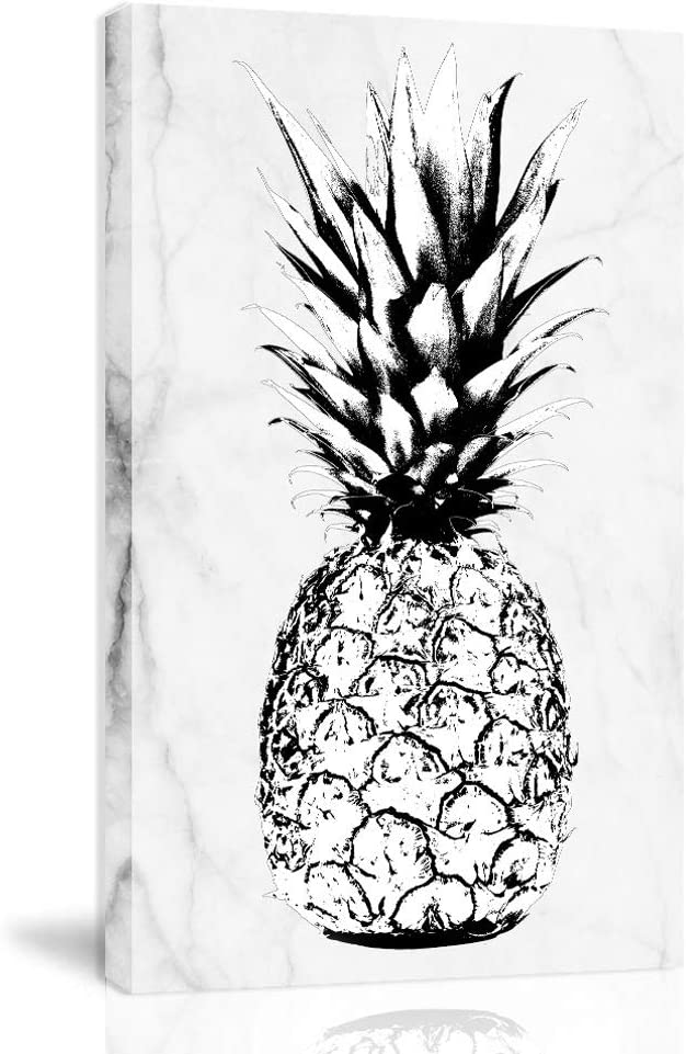 K-Road Pineapple Canvas Wall Art Framed Painting Modern Marble Texture Fruit Prints Bedroom Decor 10x16inch (DLS-B)