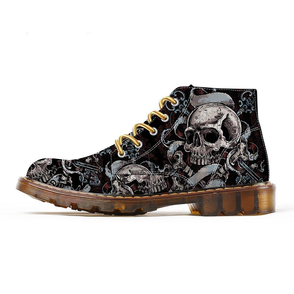FIRST DANCE Fashion Mens Skull Boots Dr Martins Shoes Men Skeleton Print Black Ankle Men Black Shoes 9US