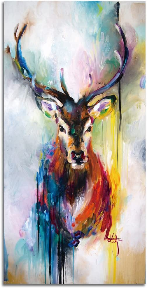 Amazon Com Shuaxin 1 Piece Abstract Print Colorful Deer Painting On Canvas For Home Office Restaurant Decor Without Frame 12x24inch Posters Prints