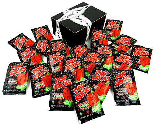 (POP ROCKS Pumpkin Patch Orange Popping Candy, 0.33 oz Packets in a BlackTie Box (Pack of 24))