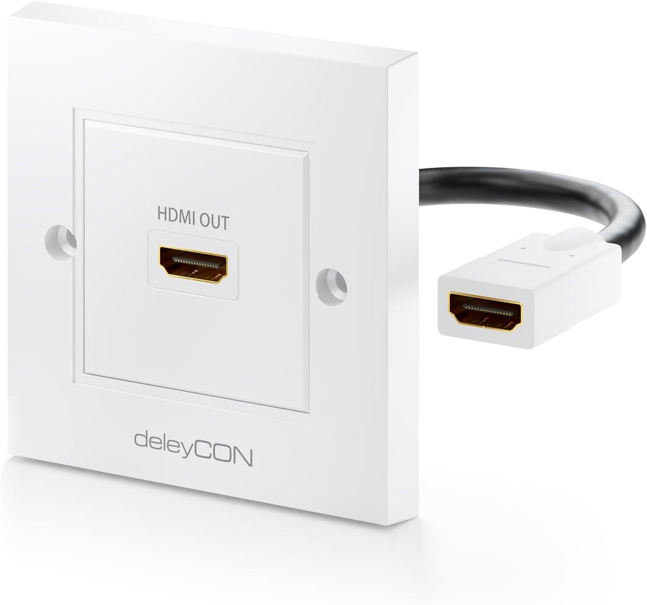 deleyCON Toma de Corriente con 1x Puerto HDMI Montaje Empotrable HDTV HD 3D 4K 2160p Blanco: Amazon.es: Electrónica