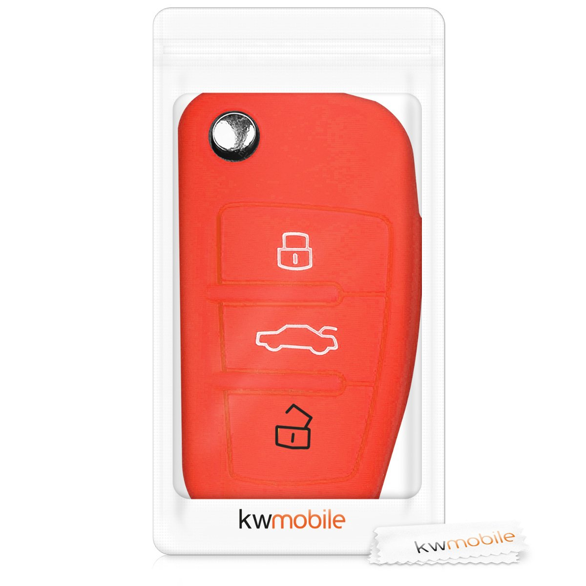 White//Black Silicone Protective Key Fob Cover for Audi 3 Button Flip Key kwmobile Car Key Cover for Audi