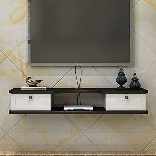 37/'/' Wood Floating TV Stand Wall-mounted Media Console w//2 Door/&2 layers Shelves