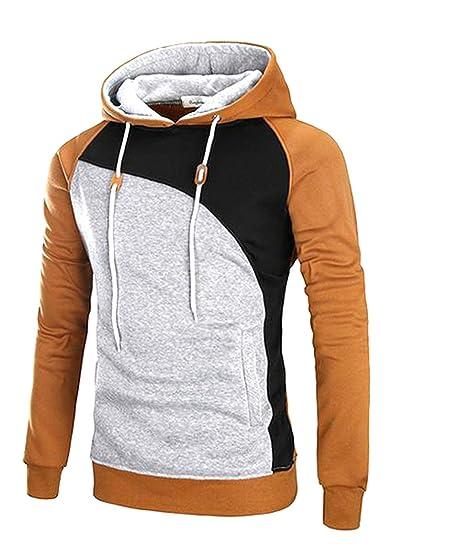 Pivaconis Mens Long Sleeve Strings Contrast Color Hoodies Sweatshirt Light  Tan 2X-Large b3df4ff0bd84