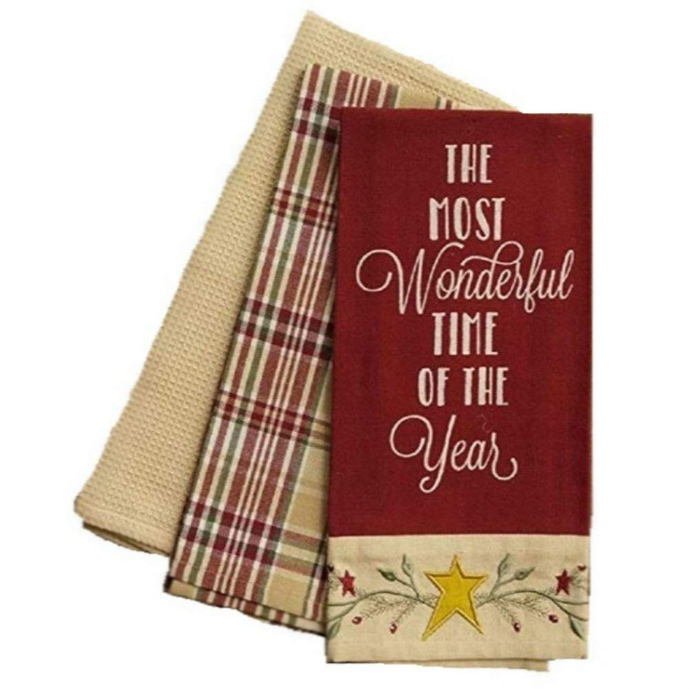 Your Heart's Delight Country Primitive Fall Winter Everyday Embroidered Dishtowel Set of 3 Cotton Tea Towels (Most Wonderful Time)
