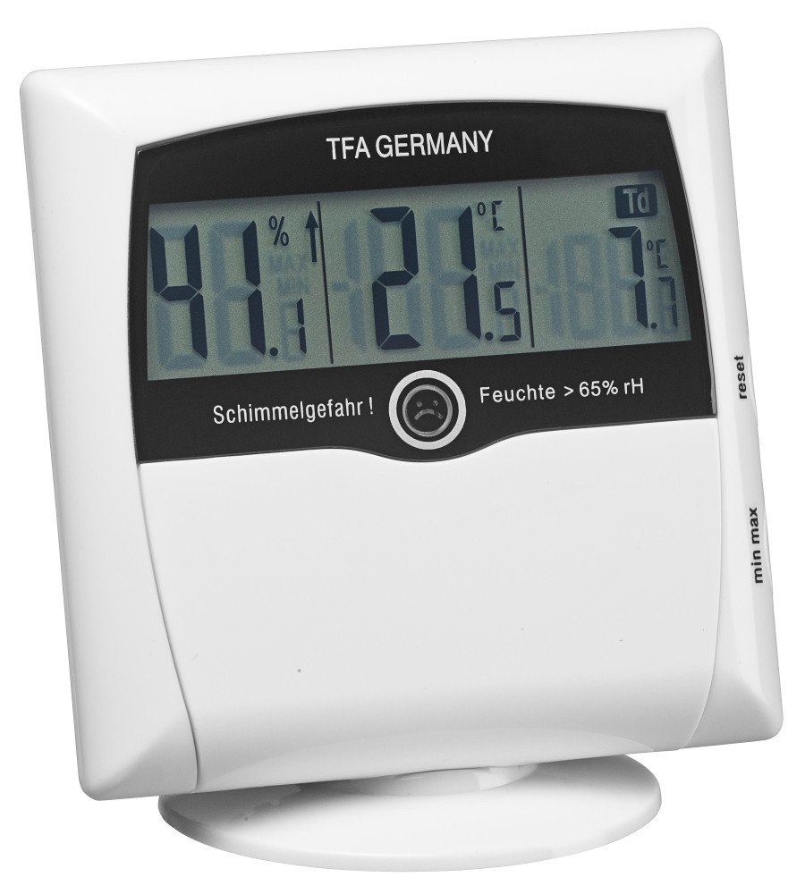 Digital thermo-hygrometer with MOULD Alarm COMFORT CONTROL - silver 30.5011.54 TFA-Dostmann Wetterladen Edition