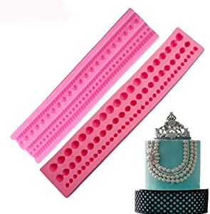 2 Pcs Pearls & Rope UV Resin Silicone Mold Fondant Chocolate Candy Gumpaste Lollipop Crystal Epoxy Soft Clay Bake Tools