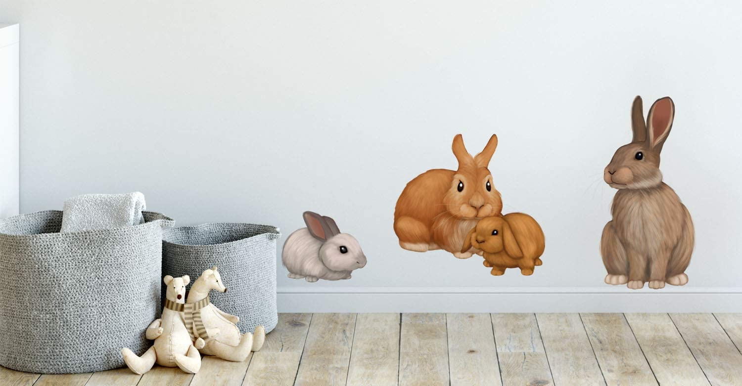 Amazon Com Bunny Rabbit Family Wall Decals Forest Kids Wall Decals Baby Nursery Toddler Room Wall Decor Boys Girls Wall Stickers Bedroom Decoration Diy Decor Kitchen Dining