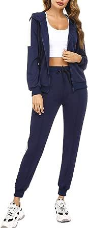 Aibrou Conjunto Chándal de Mujer,Chandal Mujer Completo Sudadera con Cremallera y Pantalones, Trajes de 2 Piezas Deporta Moda de Manga Larga Ropa de salón Corredores