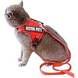 SEHOO猫リード ハーネス 可愛い 抜けにくい 小型犬  胴輪 猫用胸当て 散歩用 安全 子猫 反射テープ(M)