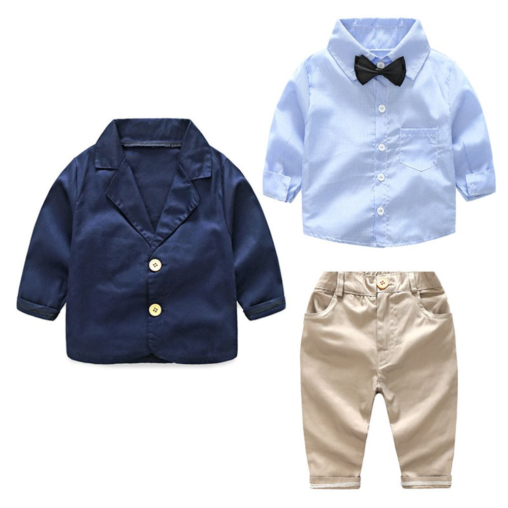 Moyikiss Studio Winter Baby Boy Gentleman Outfits 3Pcs Long Sleeve Striped Bow Tie Shirt+Coat+Pants Formal Suit (Navy, 2T)