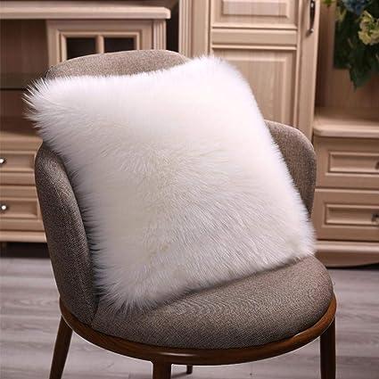 Tremendous Faux Long Wool Decorative Cushion Cover Sheepskin Wool Fur Pillowcase Soft Plush Sofa Pillow Case 45X 45 Cm Unemploymentrelief Wooden Chair Designs For Living Room Unemploymentrelieforg
