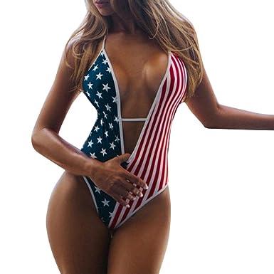 b23ee836c5 MOONHOUSE ❤ ❤️2018 Women s Sexy One Piece Striped American Flag Bandage Bikini  Swimsuits Bathing