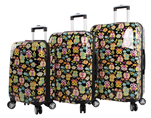 Lily Bloom Hardside 3 Piece Design Pattern Spinner Luggage Sets For Woman...
