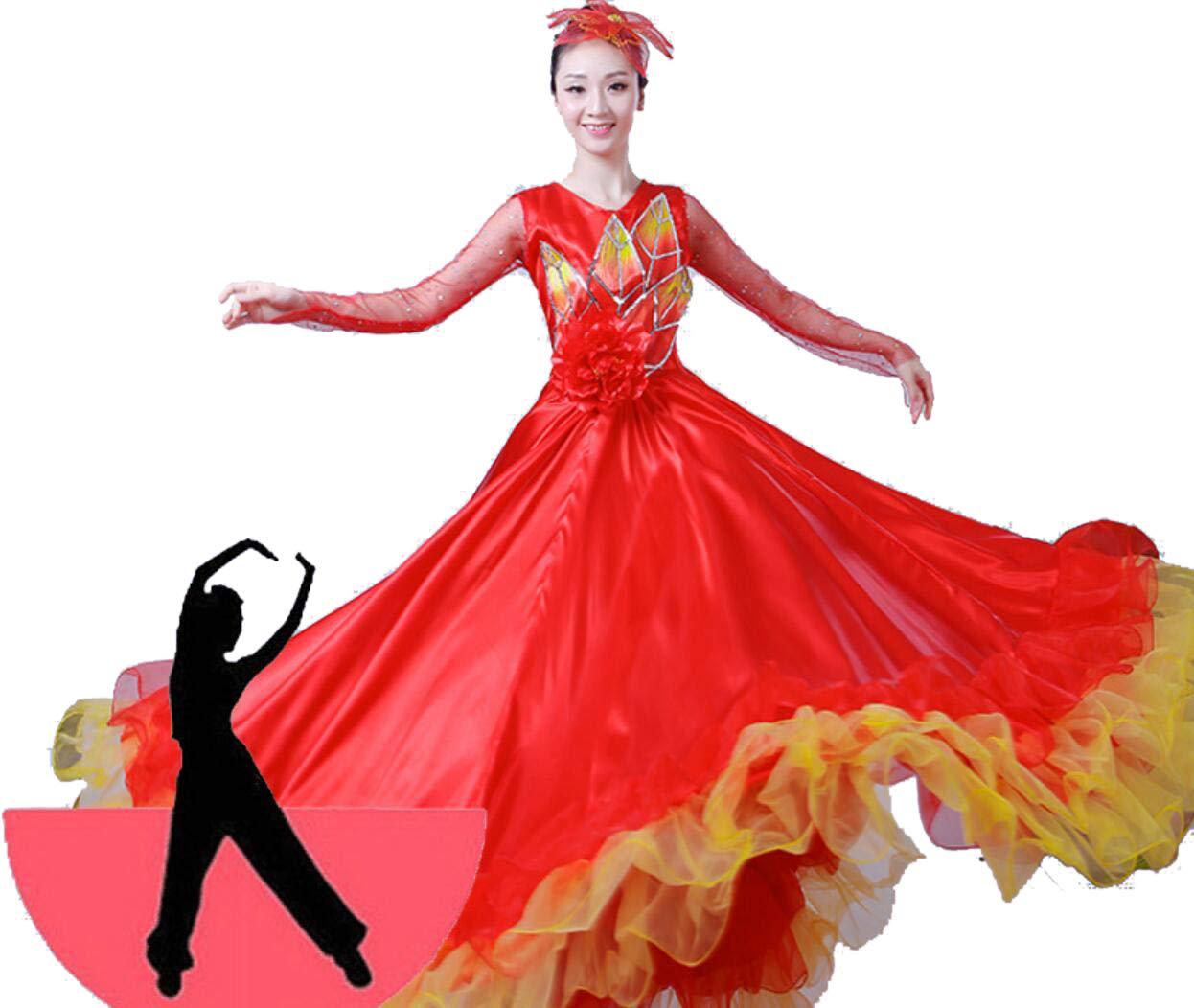 360° ZYLL Jupe Flamenco de Style Tribal Complet pour Femmes Maxi Jupe Danse du Ventre Jupe en Mousseline de Soie XXL