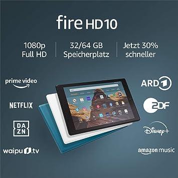 Fire Hd 10 Tablet Zertifiziert Und Generalüberholt 64 Gb Schwarz 10 1 Zoll Großes Full Hd Display 1080p Mit Werbung Amazon Devices