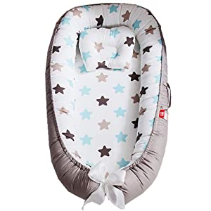 Abreeze Baby Bassinet for Bed,Blue Stars Baby Lounger Crib Bedding, Breathable & Hypoallergenic Co-Sleeping Baby Bed, 100% Cotton Portable Crib Pillow for Bedroom/Travel/Camping