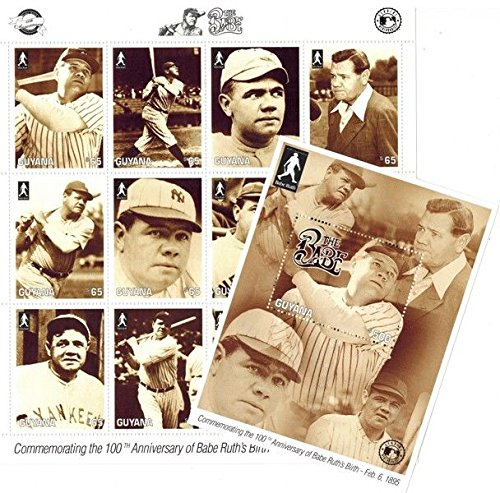 Imperial Mint 100th Ann. of Babe Ruth Birth, Stamp Sheet of 12 stamps + Souvenir Sheet Guyana - 12 Stamp Mint Sheet