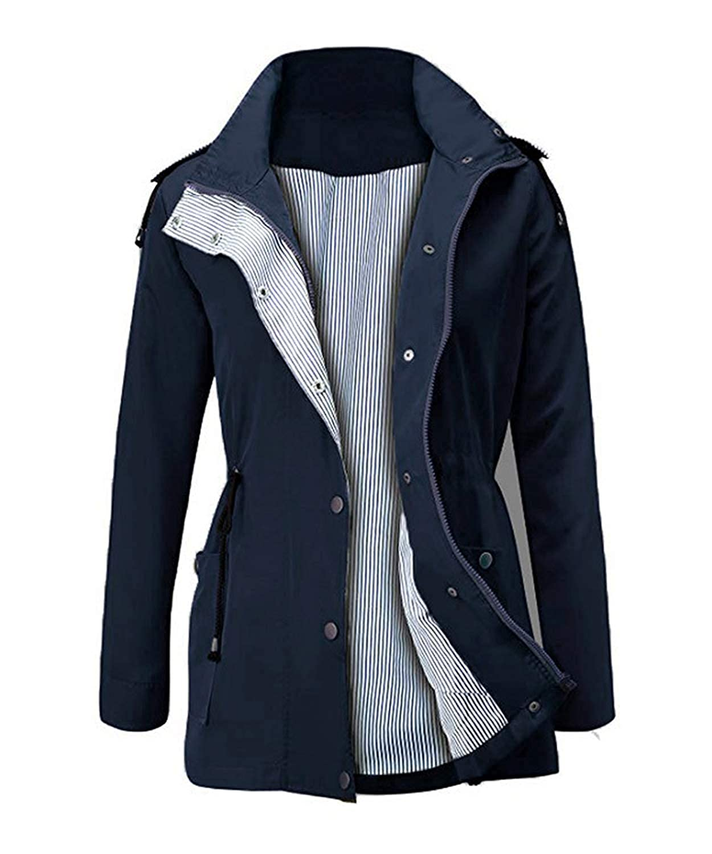 ED Express Womens Outdoor Hooded Raincoats Waterproof Lightweight Rain Jacket Trench Coats