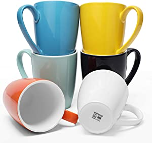 amHomel 16 oz Ceramic Coffee Mug, Big Porcelain Tea Cup for Office and Home, 6-Pack Mugs, Multicolor Cups