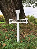 Personalized Dog Bone Grave Marker - Custom 1/8'' Thick Steel Piece with Glossy White Finish - Handmade in America - A Tribute to the Life & Memory of your Dog - Easily Stakes into the Ground