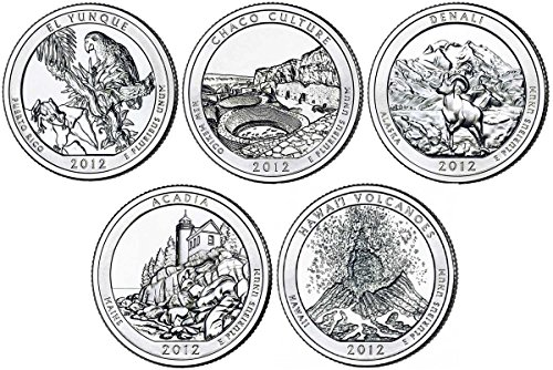 2012 D BU National Parks Quarters – 5 coin Set Uncirculated