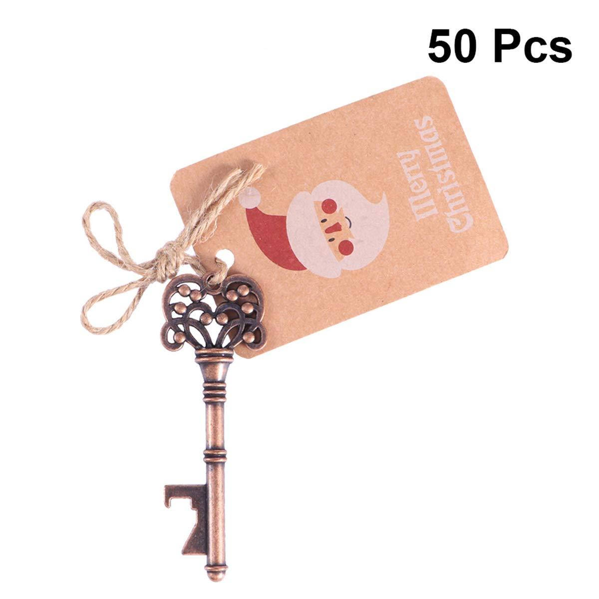BESTOYARD apribottiglie con Tag Cards per Festa di Natale Appeso Ornamento Rustico Decorazione 50PCS