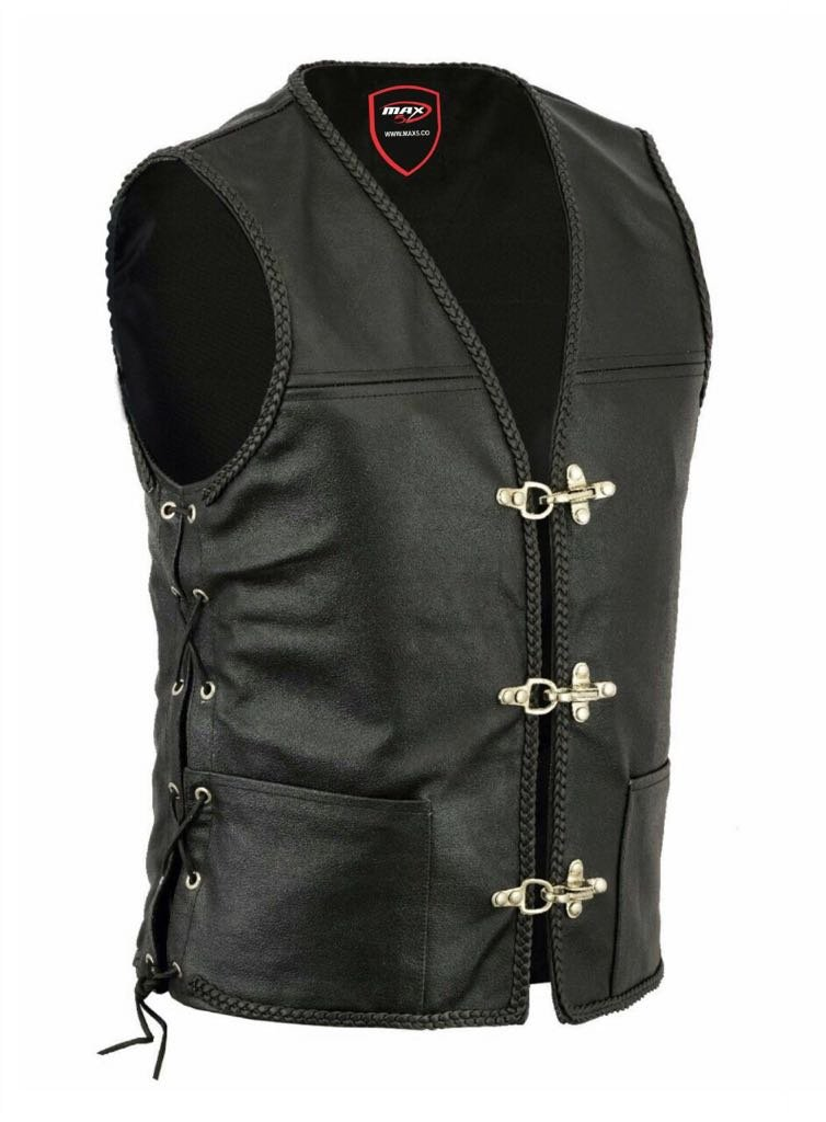 X-Large, Classic Laced New Motorbike Leather Men Waistcoat MAXFIVE Gilet Biker Style Motorcycle Vest Classic Harley Style Touring Urban City Waistcoats Black