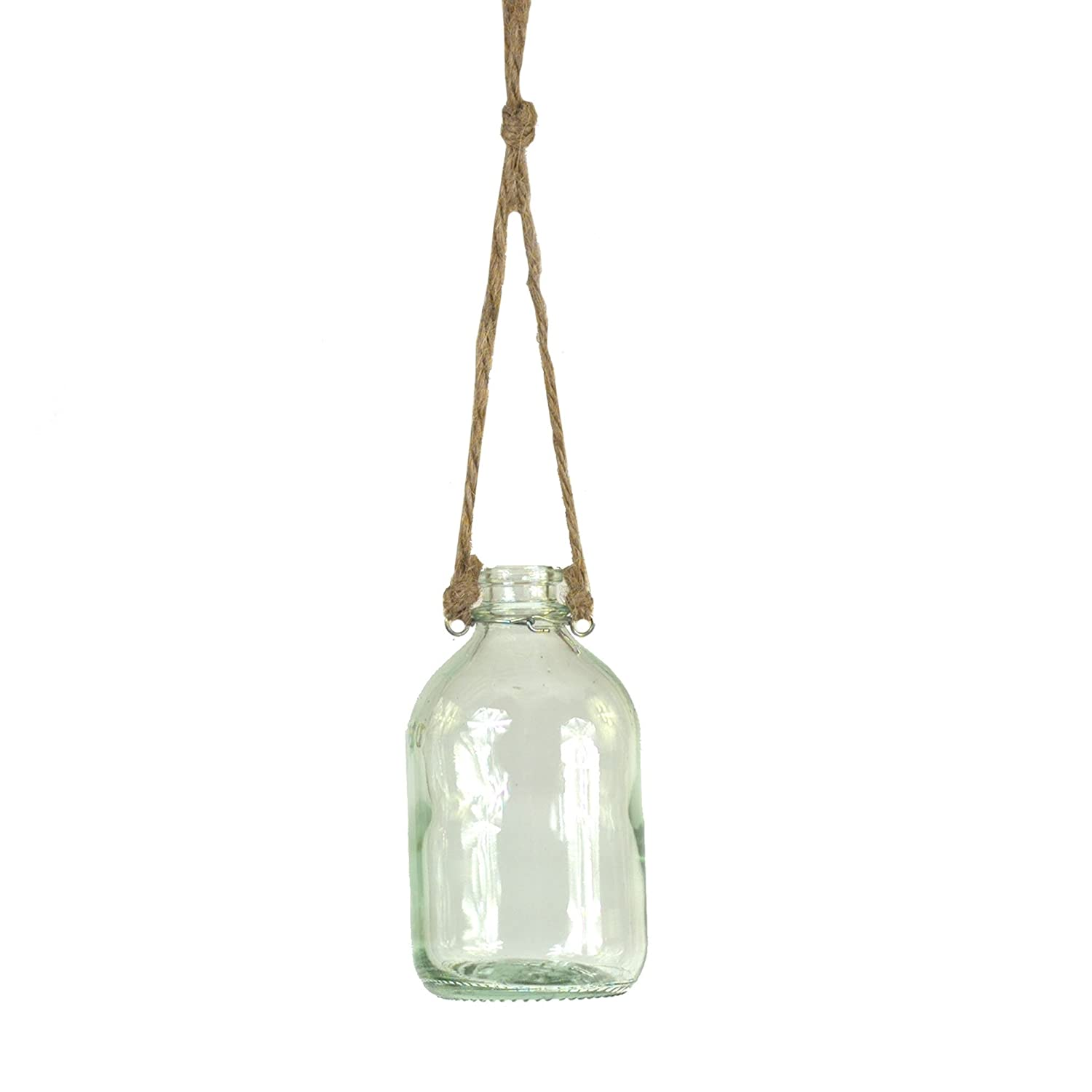 Hanging bottle with jute rope for French farmhouse and European country style spaces.