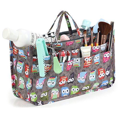 Cosmetic Bag for Women Cute Printing 14 Pockets Expandable Makeup Organizer Purse with Handles (Owl) -