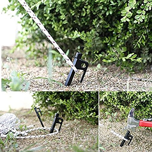 Black Heavy Duty Tent Pegs with Nylon Pouch AVESON Pack of 4 Burly Solid Forged Steel Camping Tent Stakes
