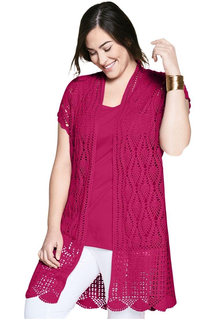 Jessica London Women's Plus Size Crochet Duster Raspberry,18/20