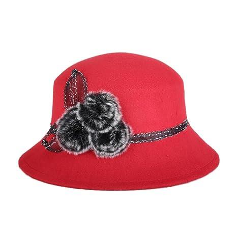 Dosige Chica Mujeres Moda Dama Otoño-Invierno Sombreros de Pesca de melón Gorra  Sombrero de c39df9944ec