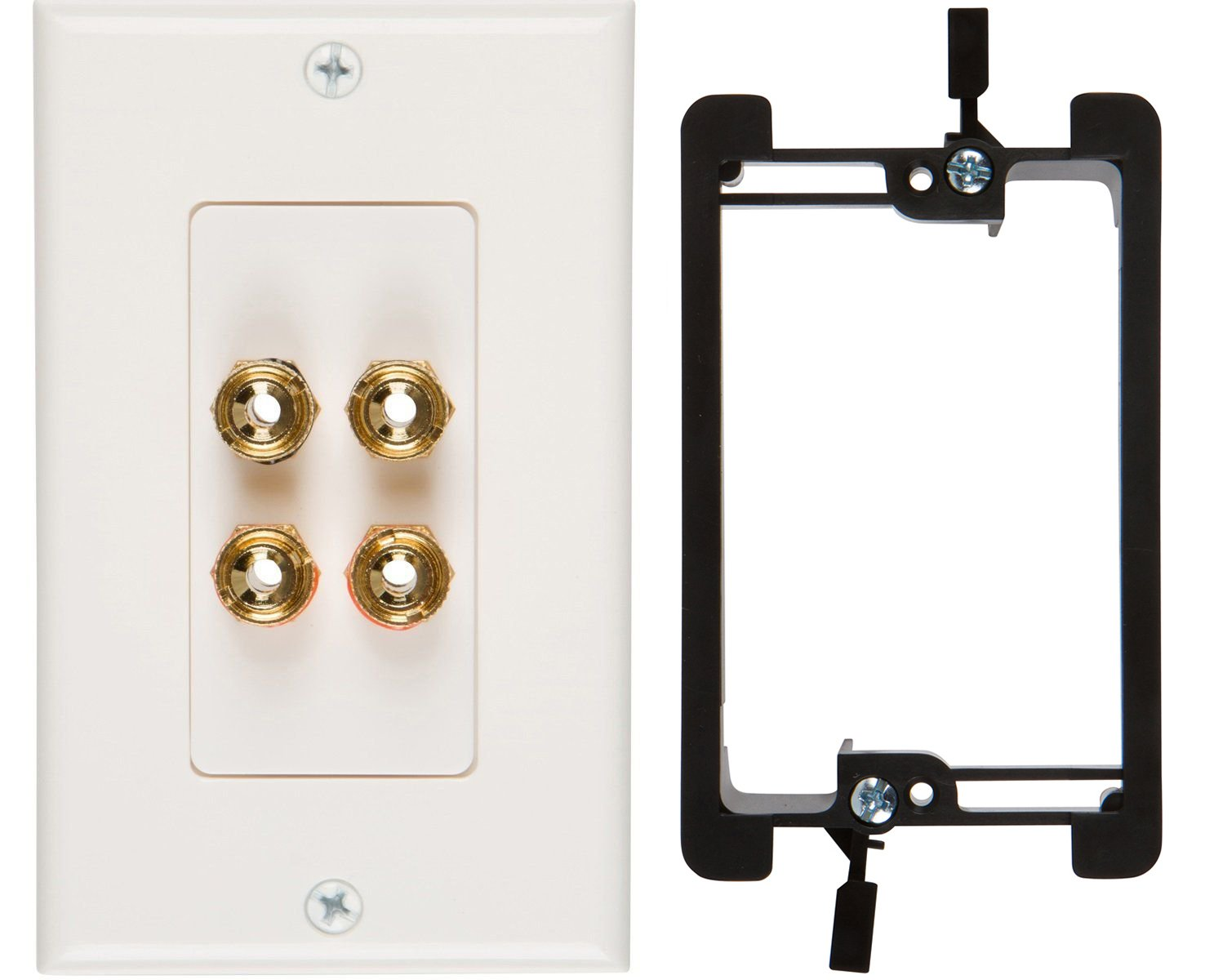 Buyer's Point Two Speaker Wall Plate, Premium Quality Gold Plated Copper Banana Binding Post Coupler Type, with Single Gang Low Voltage Mounting Bracket Device