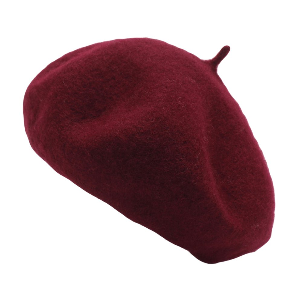 Qiabao Women's Classic Wool French Beret Solid Color (Wine)