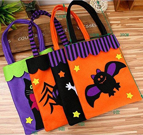 UChic 5Pcs/lot Halloween Tote Bag Kids Non-woven Fabrics Pumpkin Bat Ghost Spider Gift Bags Halloween Props Children Toys Trick Treat Candy Bag(Pattern (Non Halloween Pumpkin Patterns)