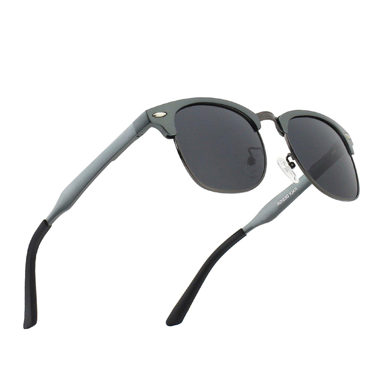 CGID MJ56 Premium Inspired Half Frame Polarized Sunglasses with Metal Rivets Matte Black-Gray 16MJ56a-3