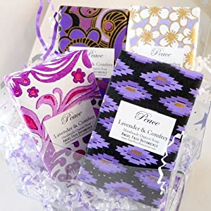 Organic Soap Gift Set - 4 Lavender Bars in Decorative Artisan Papers from Angel Face Botanicals