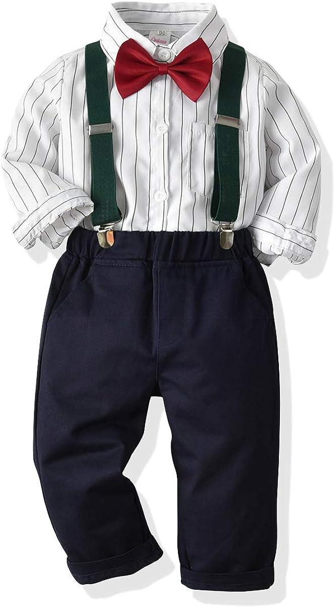 Hose SANMIO Baby Jungen Bekleidungssets Hemd Fliege Krawatte Kinder Anzug Gentleman Festliche Hochzeit Langarm Body f/ür Fr/ühling Herbst