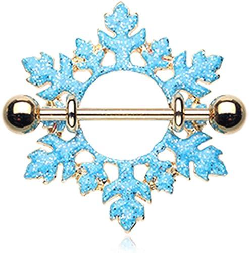 14G Golden Snowflake Nipple Shield Ring Sold Individually