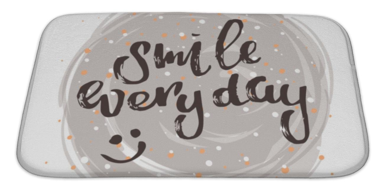 Gear New Bath Mat for Bathroom, Memory Foam Non Slip, Concept Handwritten Poster Smile Everyday Creative Graphic Template Brush Fonts, 34x21, 6287365GN