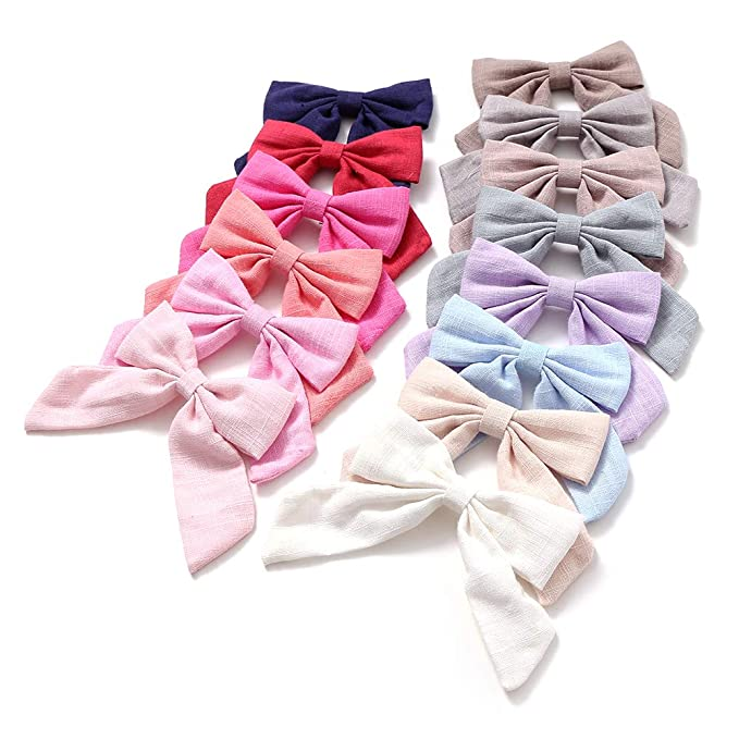 23487dfa6c252 Cotton and Linen Bow Hair Accessories Hair Bow Clip for School Girls Pack  of 14pcs (