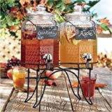 Country Style Glass Dual Drink Dispensers w/ Metal Stand & 2 Erasable Chalkboard Labels - MyGift