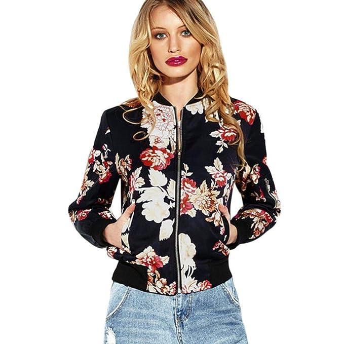 Chaqueta Mujer Primavera Otoño Fashion Patrón De Flores ...